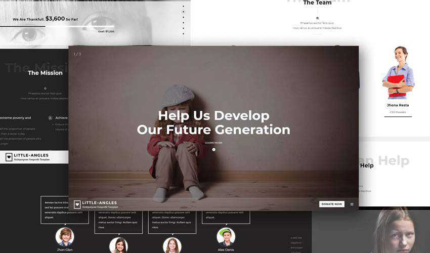 Little Angles Template non-profit charity website web design inspiration ui ux