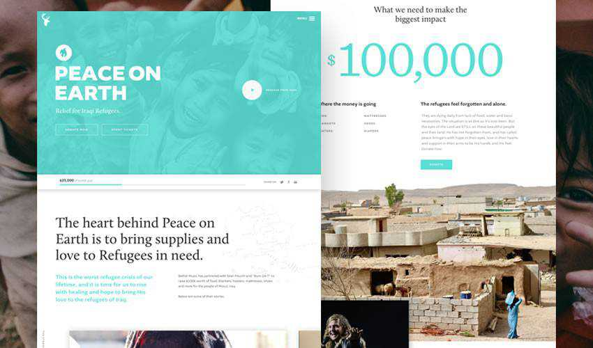 Peace on Earth Landing Page non-profit charity website web design inspiration ui ux