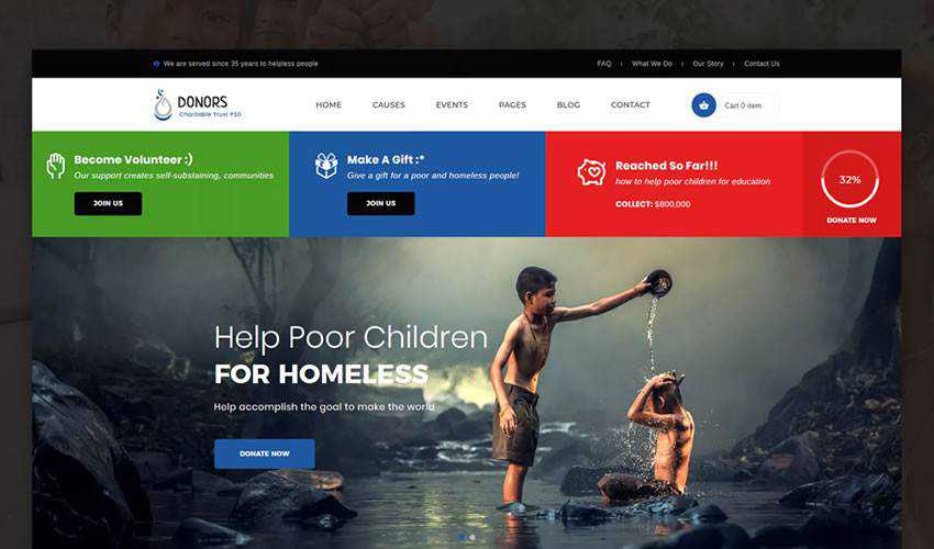 Donors Bootstrap HTML Template non-profit charity website web design inspiration ui ux