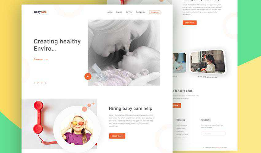 Baby Care Homepage non-profit charity website web design inspiration ui ux