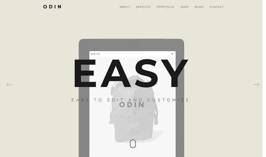 ODIN One-Page Template single-page website web design inspiration ui ux
