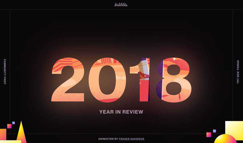 Dribbble Year In Review one-page single-page website web design inspiration ui ux
