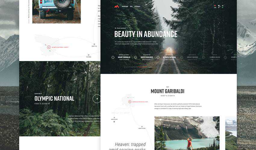 Pacific Northwest Travels one-page single-page website web design inspiration ui ux