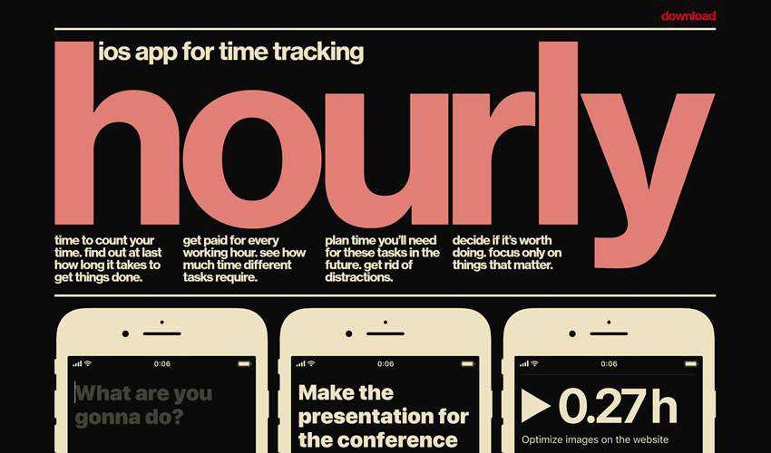 Hourly App one-page single-page website web design inspiration ui ux