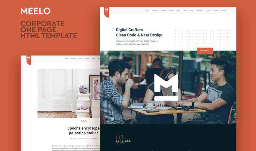 Meelo One Page HTML Templat one-page single-page website web design inspiration ui ux