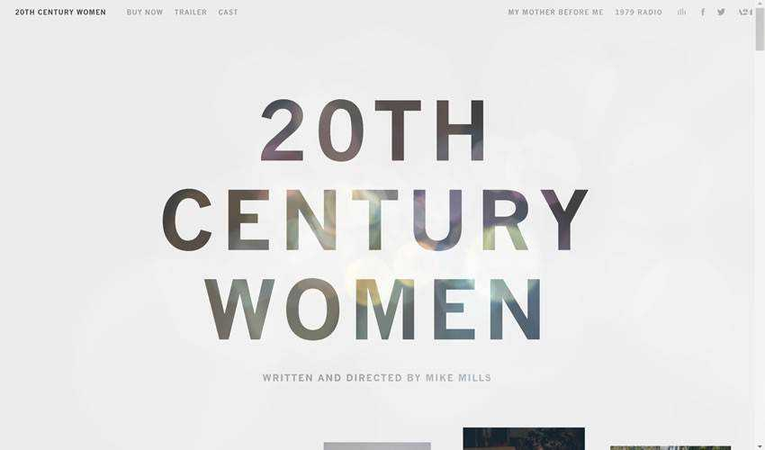 20th Century Women one-page single-page website web design inspiration ui ux