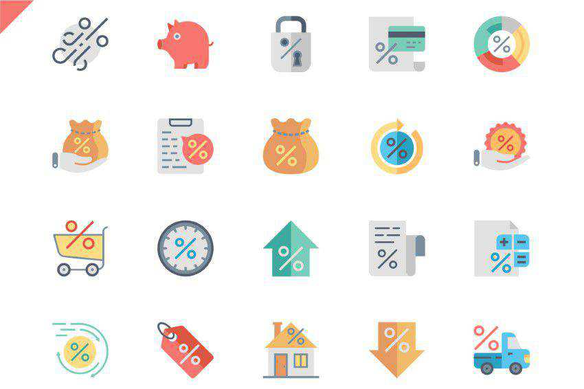 Set Loan Flat Icons
