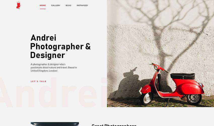 Landing Page photographer portfolio camera website web design inspiration ui ux