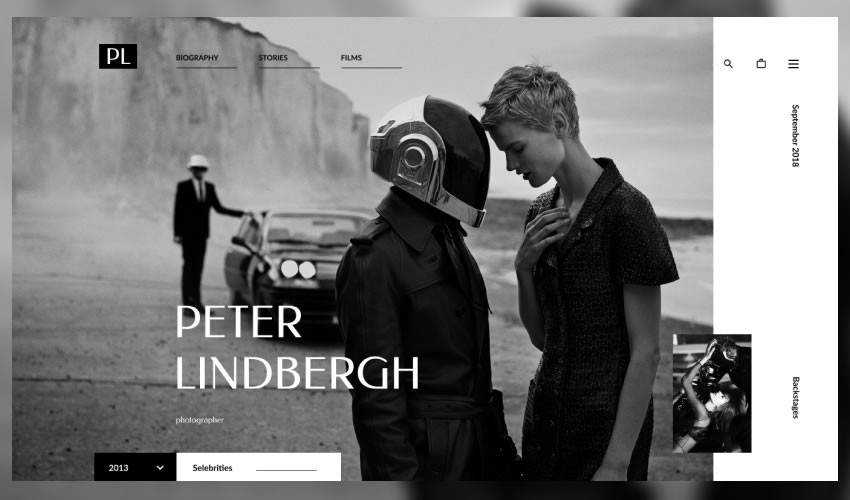 Peter Lindbergh photographer portfolio camera website web design inspiration ui ux