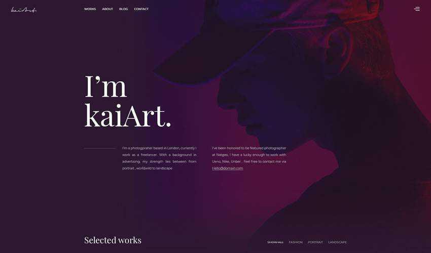 Kaiart photographer portfolio camera website web design inspiration ui ux
