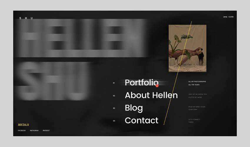 Shu Hellen photographer portfolio camera website web design inspiration ui ux