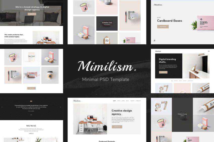 Mimilizm PSD şablonu photoshop web tasarımı