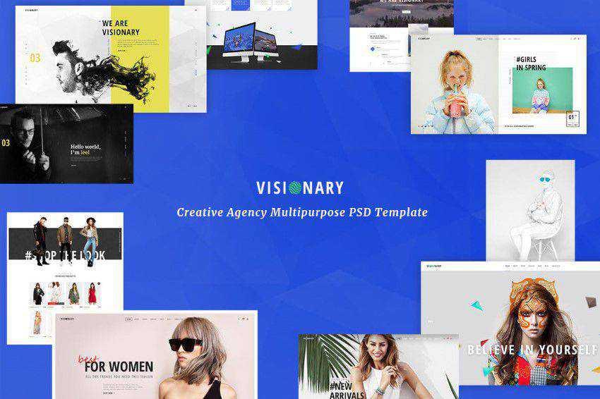 Vizyoner PSD şablonu photoshop web tasarımı