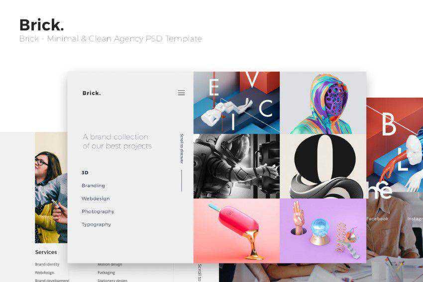 Tuğla PSD şablonu photoshop web tasarımı