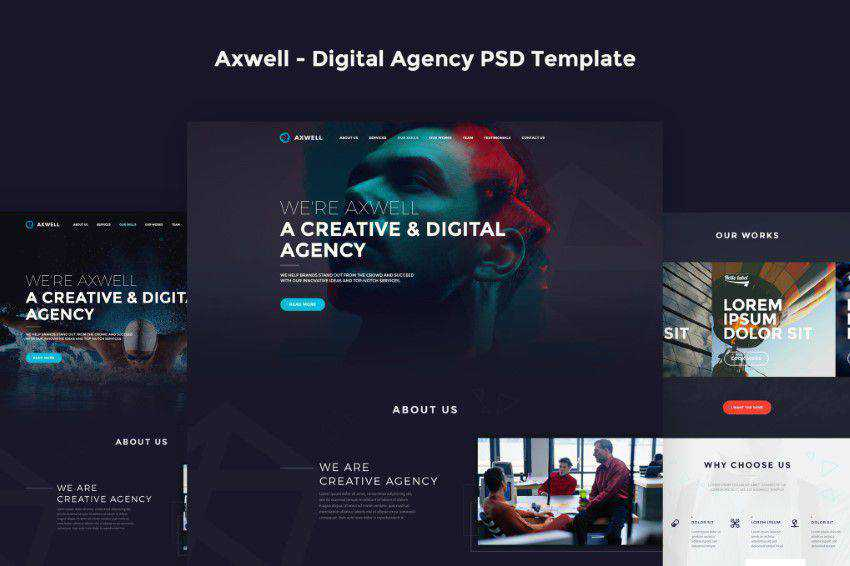Axwell PSD template photoshop web design