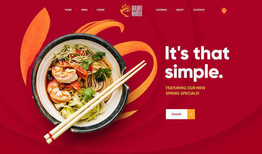 Golden Ramen restaurant food drink website web design inspiration ui ux