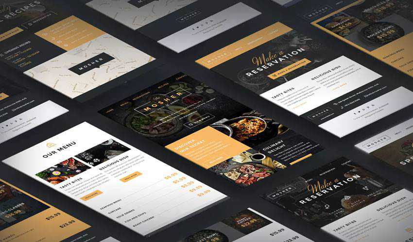 Mosher Restaurant food drink website web design inspiration ui ux