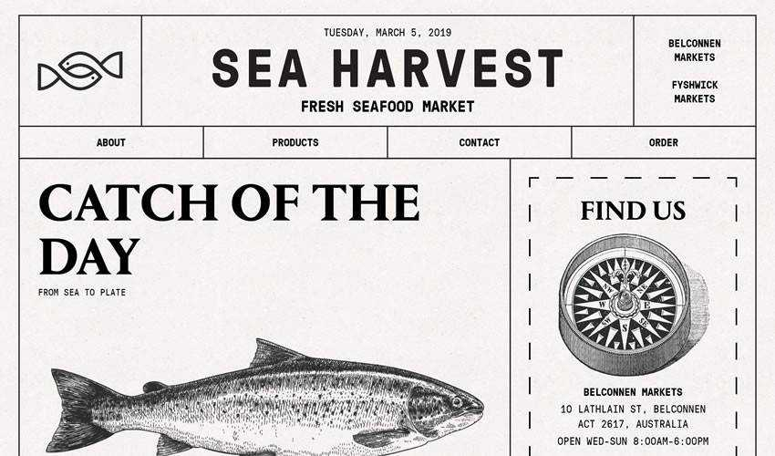 Sea Harvest restaurant food drink website web design inspiration ui ux