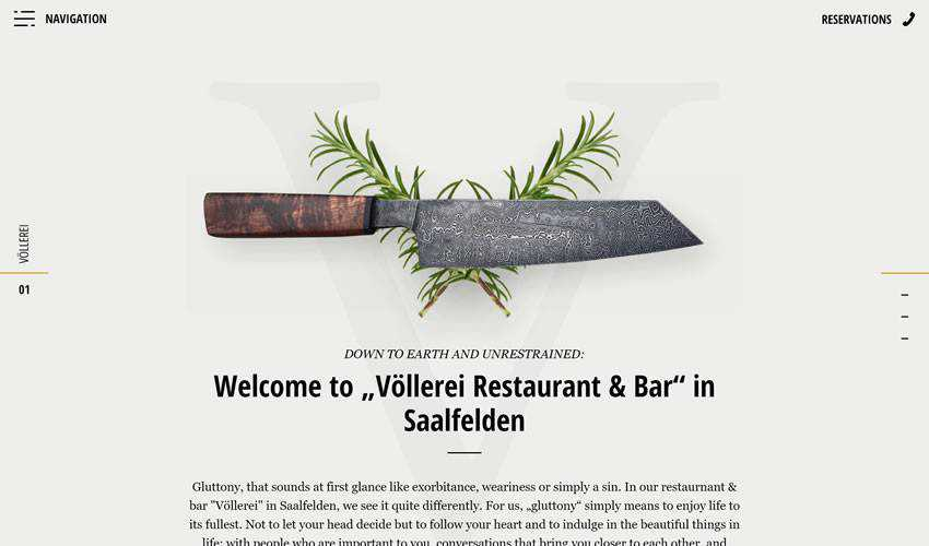 Voellerei bar restaurant food drink website web design inspiration ui ux