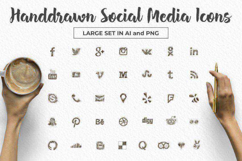 Social Media Icons Large Set