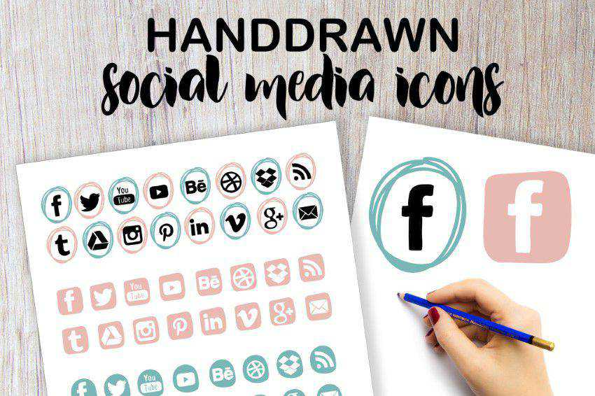Handdrawn Social Media Icons