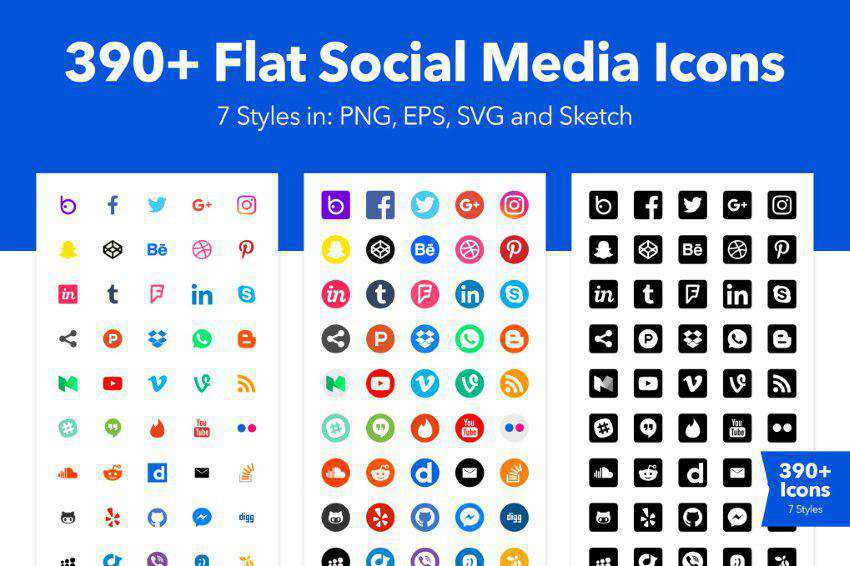 500+ Social Media Icons for Sketch