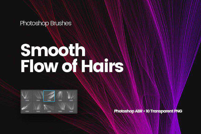 digital smooth flow hairs photoshop brushes