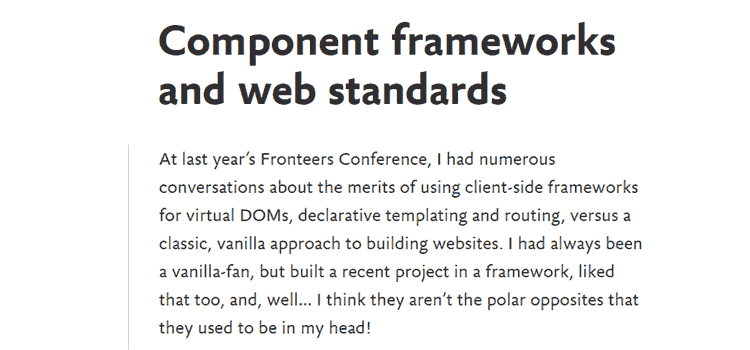 Component frameworks and web standards