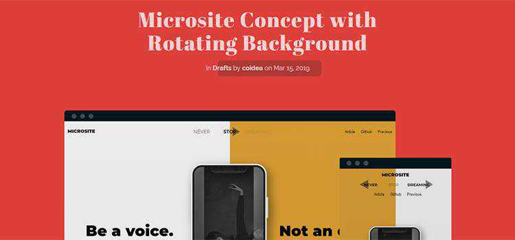 Microsite Concept with Rotating Background