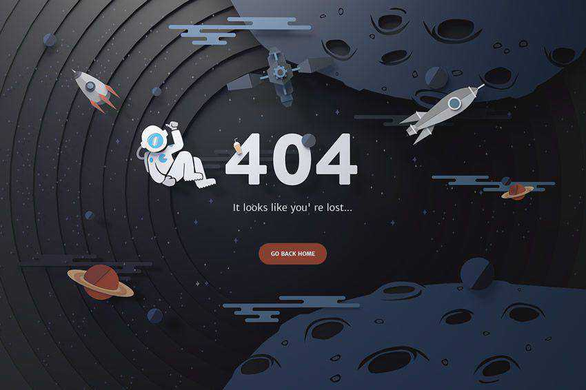 Illustrated Space 404 page not found web design inspiration