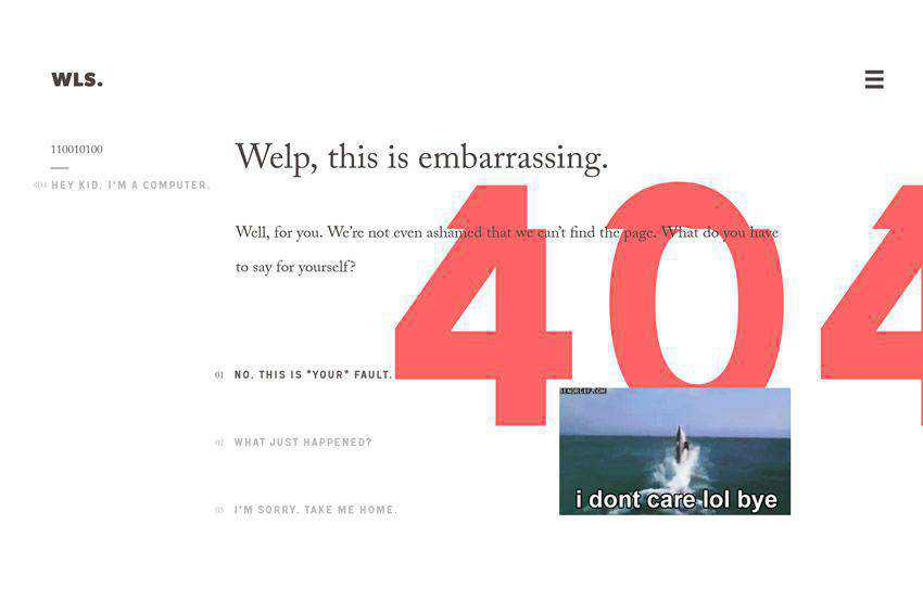 Well this is embarrassing 404 page not found web design inspiration