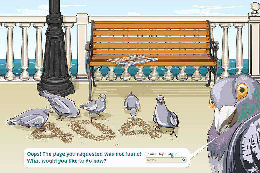 Pigeon 404 page not found web design inspiration