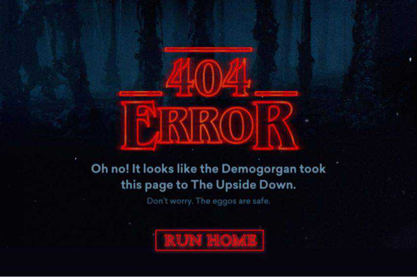 Stranger Things 404 page not found web design inspiration