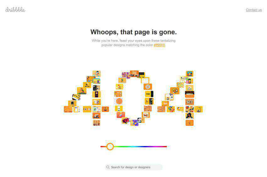 The Dribbble 404 page not found web design inspiration