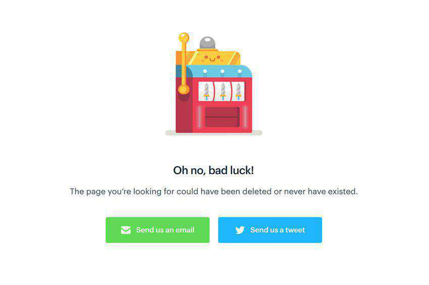 Oh no bad luck 404 page not found web design inspiration