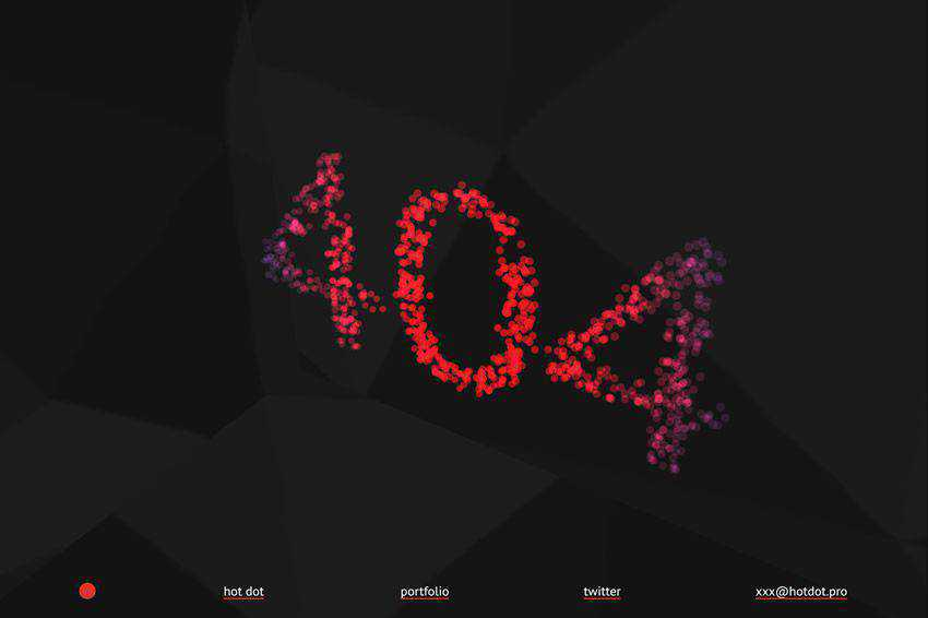 Animated Bokeh 404 page not found web design inspiration