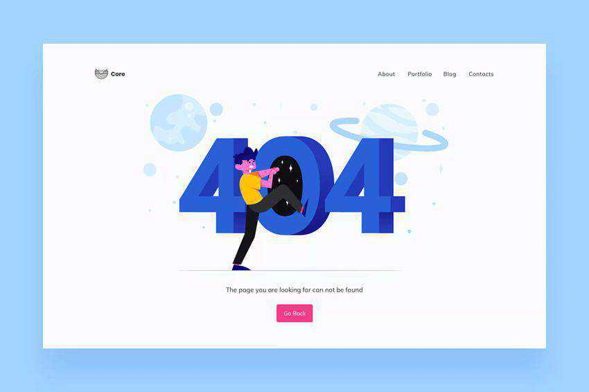 Illustrations 404 page not found web design inspiration