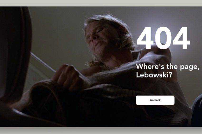 Where is the page Lebowski 404 page not found web design inspiration