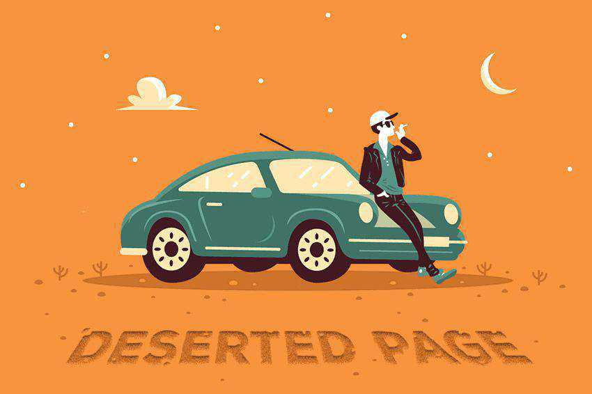 Deserted Page Animation 404 page not found web design inspiration