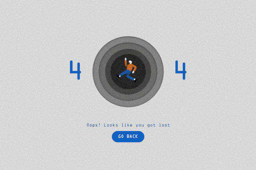 Animated 404 Black Hole page not found web design inspiration