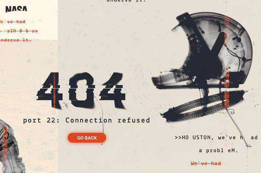 NASA 404 Page Concept page not found web design inspiration