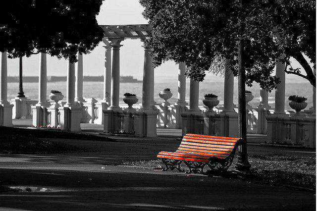b and w shot coloring Red Seat