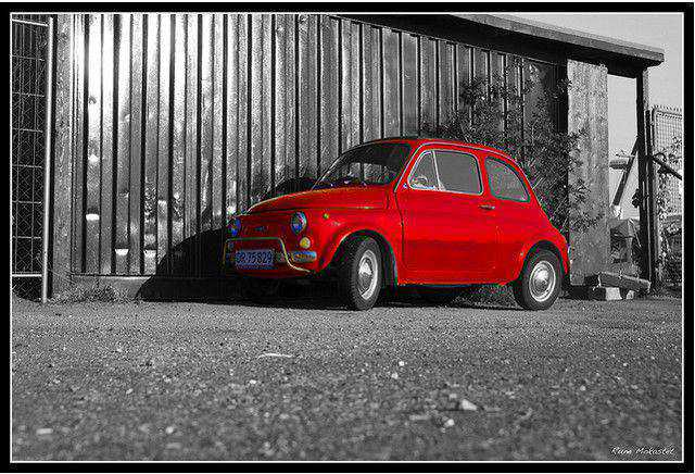 b and w shot coloring A Little Red Car