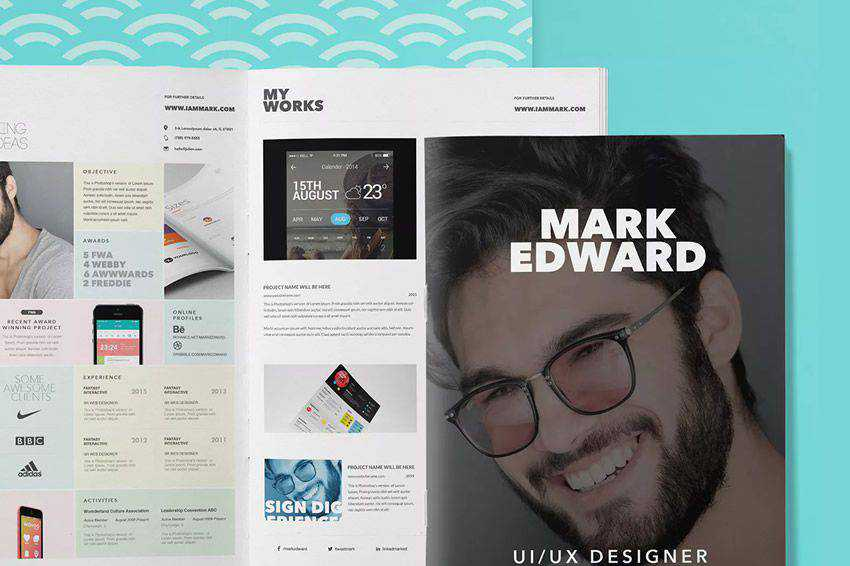 resume cv job creative design inspiration booklet