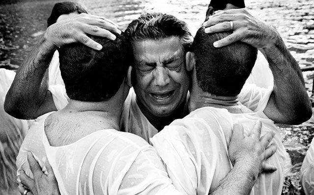 Baptism in the Jordan River powerful photography documentary
