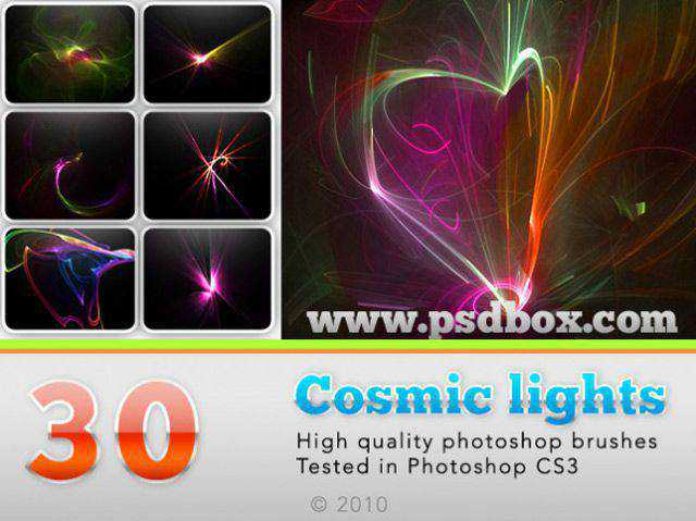 Cosmic lights photoshop brushes free fractal