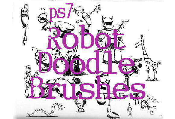 Photoshop Robot Doodle Brushes scribble doodle