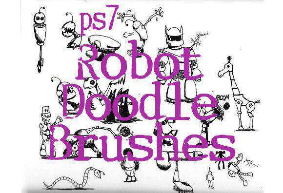 Photoshop Robot Doodle Brushes scribble doodle