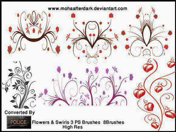 Photoshop Brushes free designers Flowers Swirls