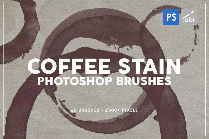 Coffee Stain grunge distressed photoshop brush pack set adobe